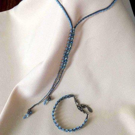 青と緑のビーズ ブレス&ネックレス