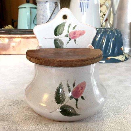 陶器のお塩入れ 薔薇のつぼみがかわいい