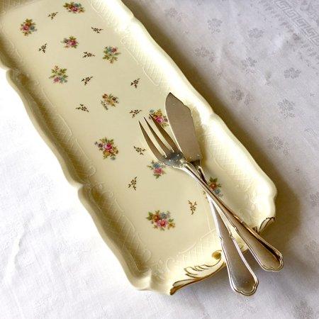 リモージュ 小花柄の長皿 ケーキプラター ROYAL Limoges