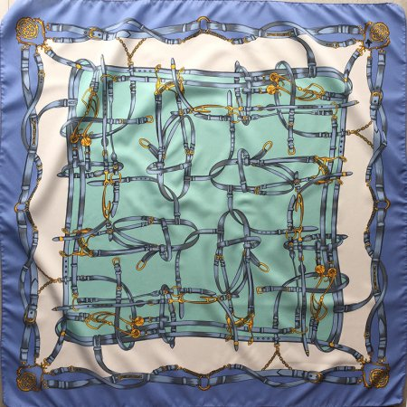 スカーフ ベルト模様 爽やかなブルーとグリーン