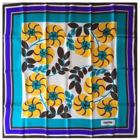 スカーフ carita ポップな花柄