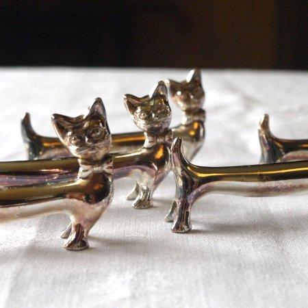 猫のナイフレスト シルバー(在庫4)