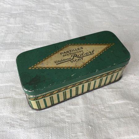 TIN缶 シックな緑色 VICHY 小さな長方形缶