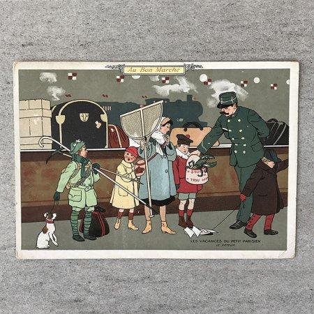 ボンマルシェ アンティークカード(小さなパリジャンのバカンス)