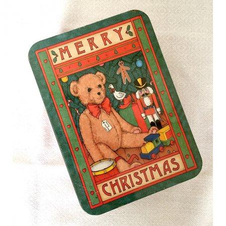 TIN缶  クリスマスのテディベアクッキー