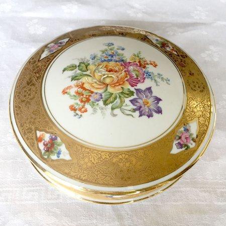 リモージュ 金彩と花束のボンボニエール お菓子小物入れ Limoges