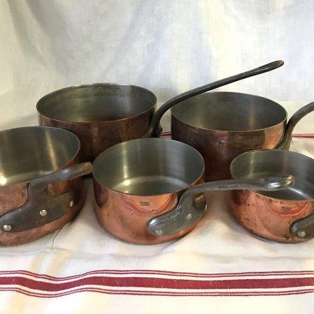 フランス 本格派 銅片手鍋 5個揃え