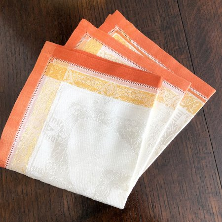 ドロンワークと織りがきれいな テーブルナプキン リネン(在庫1)