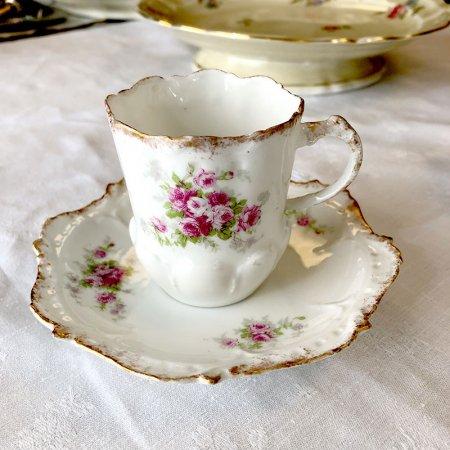 リモージュ フリルがかわいい薔薇コーヒーカップ&ソーサー Limoges