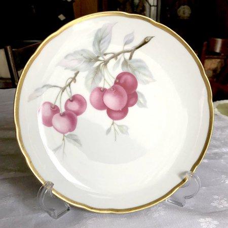 フッチェンロイター 金の縁取りの中皿 チェリー