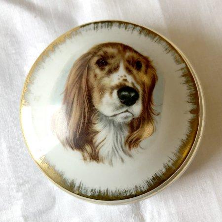 リモージュ 丸型ボンボニエール 小物入れ(dog)Limoges