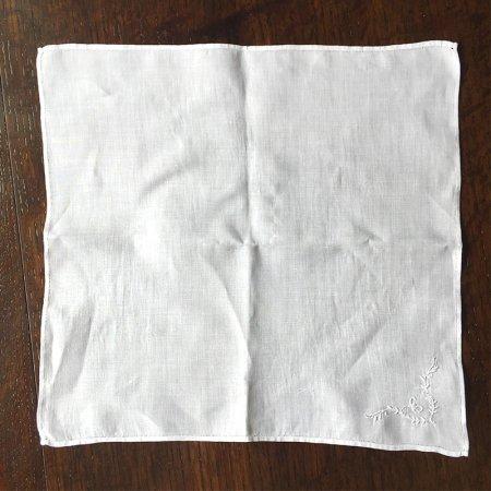 フレンチリネン ハンカチ  ティーナプキン 刺繍C
