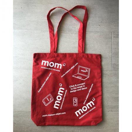 トートバッグ 赤 mom