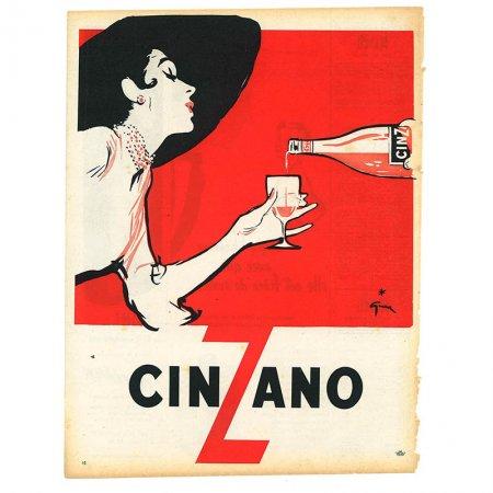 ヴィンテージフランス雑誌 1953年 2色CINZANO2P