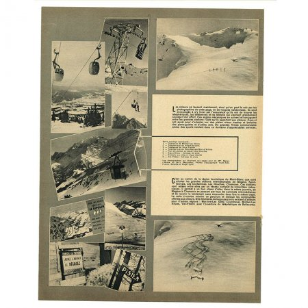ヴィンテージフランス雑誌 1952年1月 1色スキー場4P(見開き)