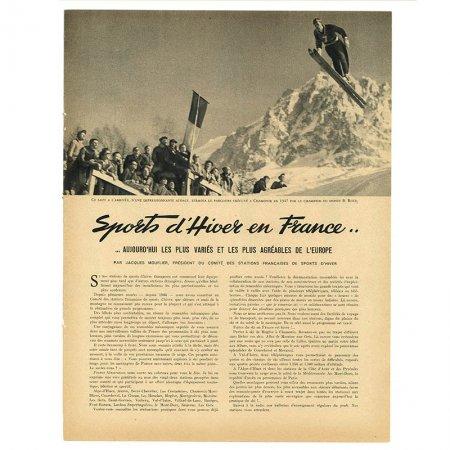 ヴィンテージフランス雑誌 1952年1月 1色スキー2P