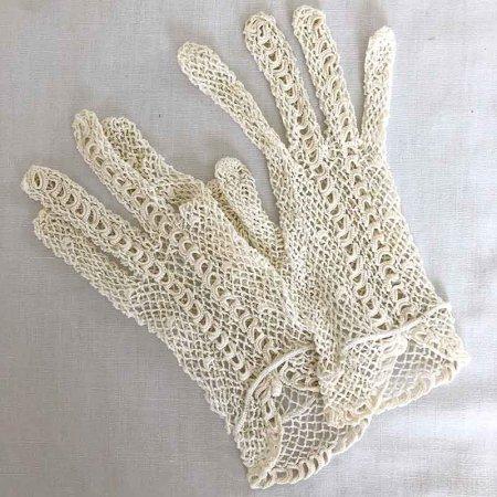 フランス アンティークレース 手袋 白