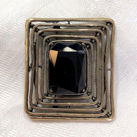 スクエア黒ビジュー ブラス細工ブローチ