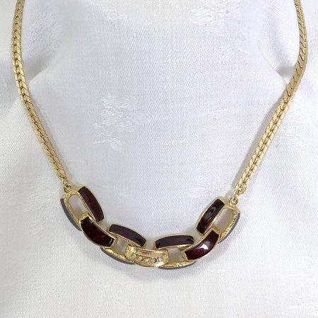 深紅とゴールド ラインストーン付ネックレス