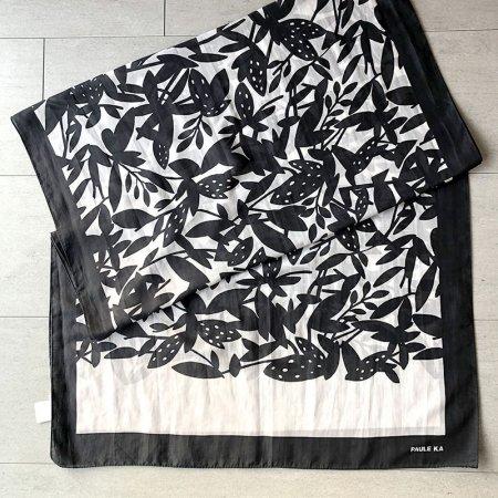 ロングスカーフ PAULE KA モノクロ花柄
