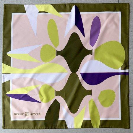 スカーフ  深緑フレームにレモンイエローなど ROUGE ABSOLU(未使用)