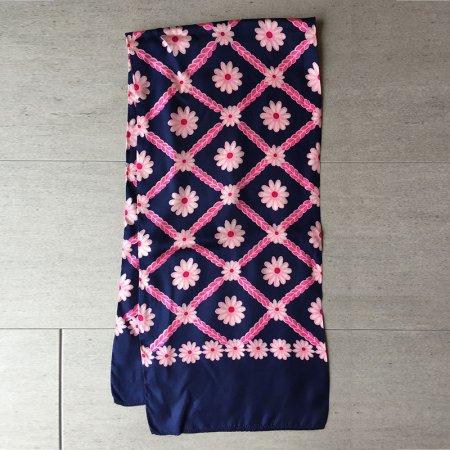 スカーフ ネイビー花格子 ロングスカーフ
