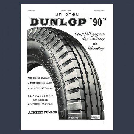 ヴィンテージ 雑誌広告  DUNLOP タイヤ モノクロ フランス雑誌