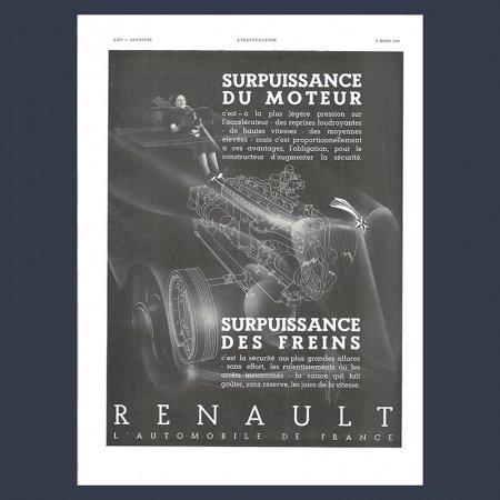 ヴィンテージ 雑誌広告  RENAULT 自動車 モノクロ フランス雑誌