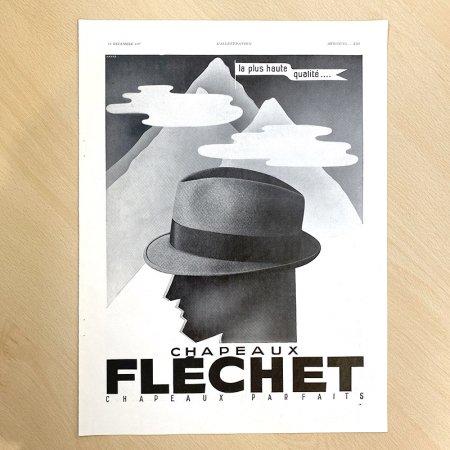 ヴィンテージ広告2P モノクロ 帽子FRECHET・万年筆(1937年12月仏)