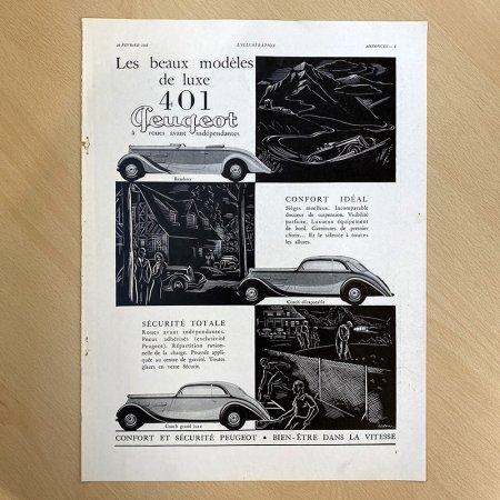 ヴィンテージ広告2P モノクロ Peugeot(1937年12月仏)*<img class='new_mark_img2' src='https://img.shop-pro.jp/img/new/icons47.gif' style='border:none;display:inline;margin:0px;padding:0px;width:auto;' />