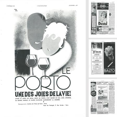 ヴィンテージ広告4P モノクロ アルコール・タバコ他(1937年12月仏)