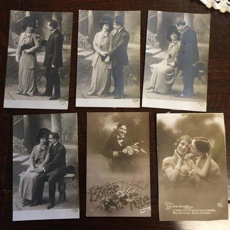 ポストカード カップルのモノクロ写真 USED6枚セット