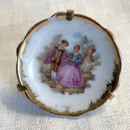 リモージュ とても小さな飾皿(白×ゴールド)Limoges