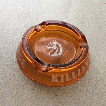 ヴィンテージ ガラス灰皿 クリアアンバー(KILLIAN'S)