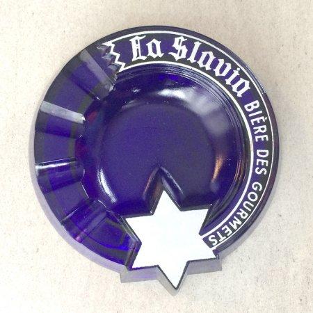 ヴィンテージガラス灰皿 クリアコバルト×白(La Slavia)