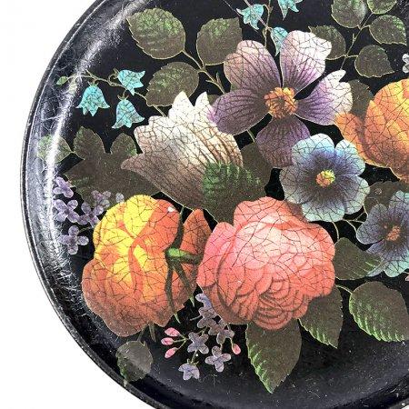 イギリス製 花柄の金属製豆皿 コースター