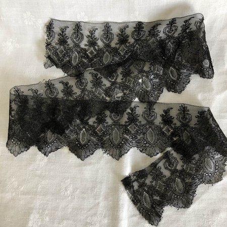 巾広 花柄黒レースリボン 7.5×92cm
