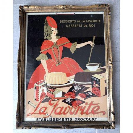 ヴィンテージお菓子メーカーのポスター La Favorite(木製額入り)