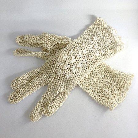 フランス アンティークレース 手袋 生成色 Mサイズ