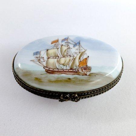 帆船のハンドペイント 陶器小物入れ