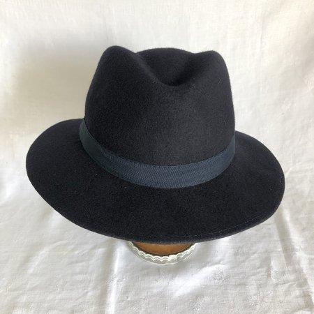 婦人帽 中折れフェルト帽ネイビー フランス製
