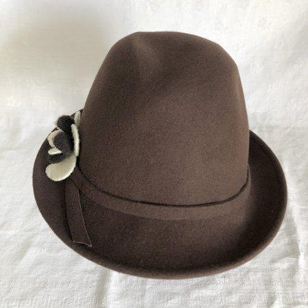 婦人帽 フェルト帽ブラウン 花コサージュ
