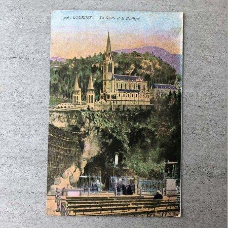 ポストカード 洞窟と大聖堂 彩色写真1922