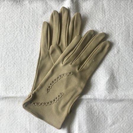 グローブ 手袋 ドットチェーン柄ベージュ 未使用品