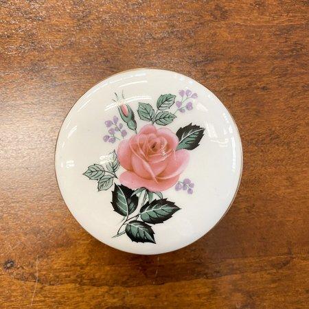 ボンボニエール ボタニカル調バラ  陶器の小物入れ