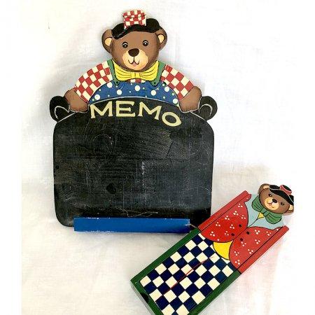 くまのミニ黒板チョークボックスセット 木製