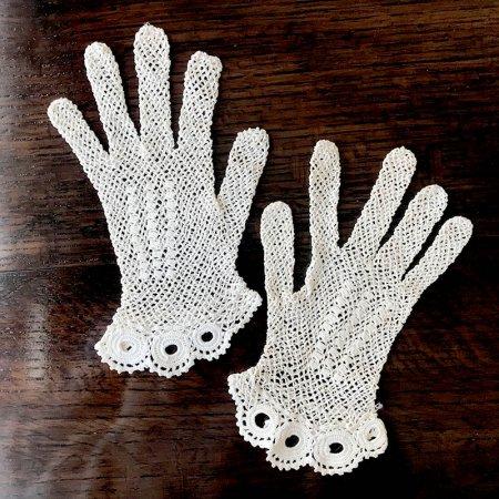フランス アンティークレース 手袋 レース手袋 Sサイズ