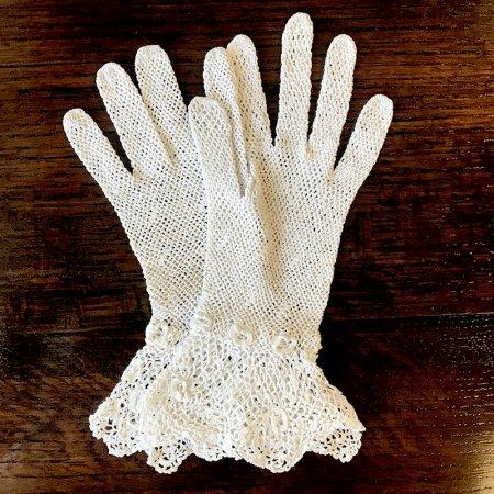フランス アンティークレース 手袋 レース手袋 花模様 Sサイズ