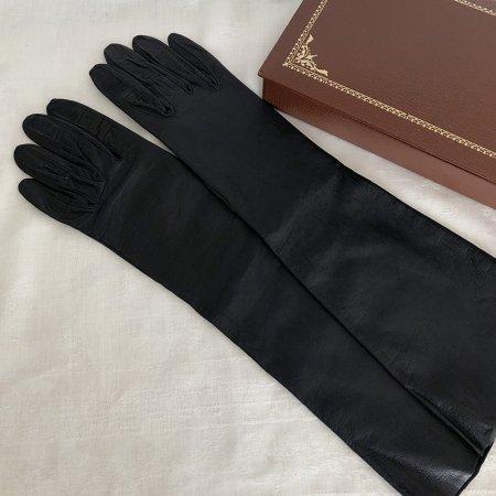 革手袋(ネイビー)レディース ロング 本革