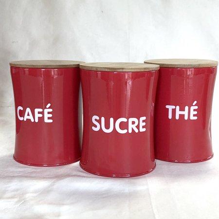 キャニスター 赤缶 sucre /café /the  フランスキッチン雑貨